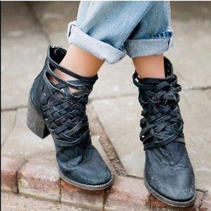 Free People Carrera Heel Boot In Weathered Black